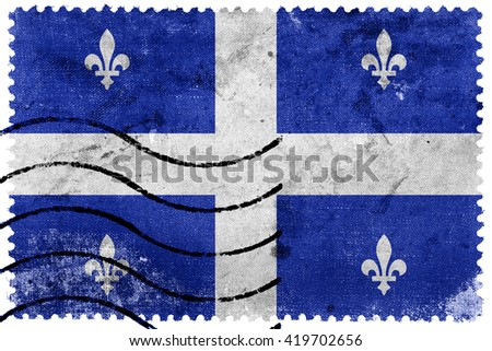 Flag of Quebec, old postage stamp - stock photo