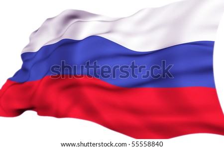 Flag of Russia in the wind - stock photo