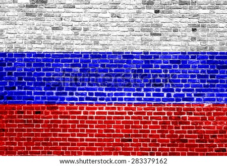 Flag of Russia painted on brick wall, background texture - stock photo