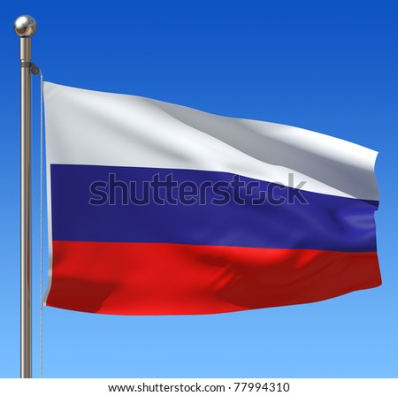 Flag of Russia with flag pole waving in the wind against blue sky. - stock photo