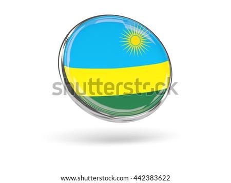 Flag of rwanda. Round icon with metal frame, 3D illustration - stock photo