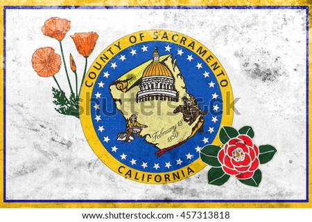 Flag Sacramento County California Usa Vintage Stock Illustration