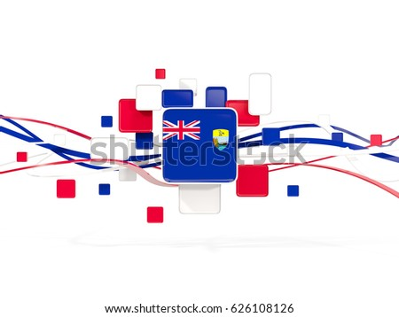 Flag of saint helena, mosaic background with lines. 3D illustration