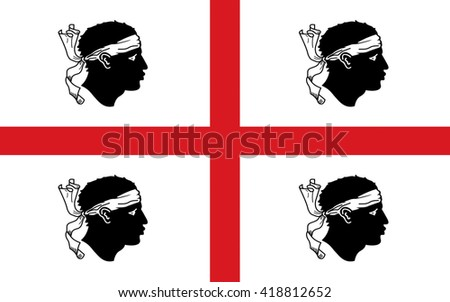 Flag of Sardinia is the second-largest island in the Mediterranean Sea and an autonomous region of Italy - stock photo