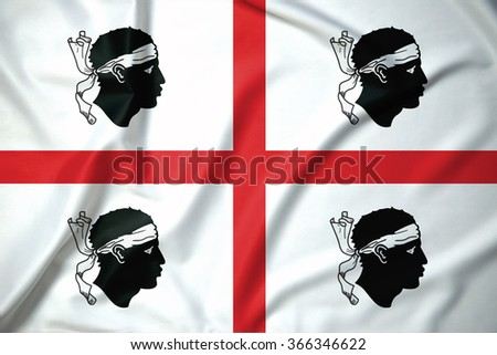 Flag of Sardinia regions,autonomous regions of Italy on soft and smooth silk texture