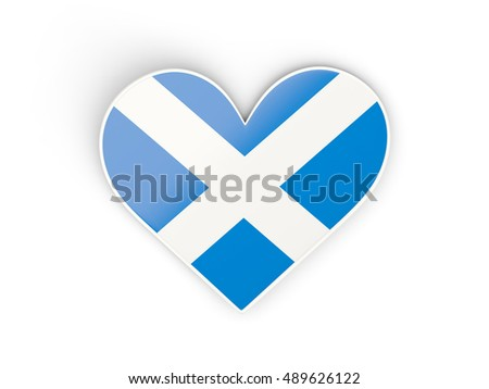 Flag of scotland, heart shaped sticker isolated on white. 3D illustration
