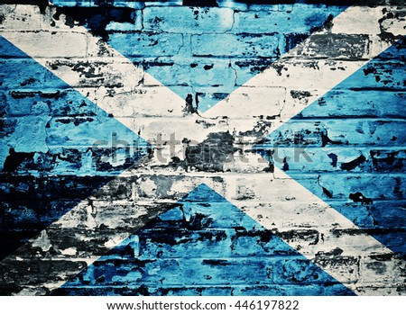 flag of Scotland painted on an old brick wall - stock photo