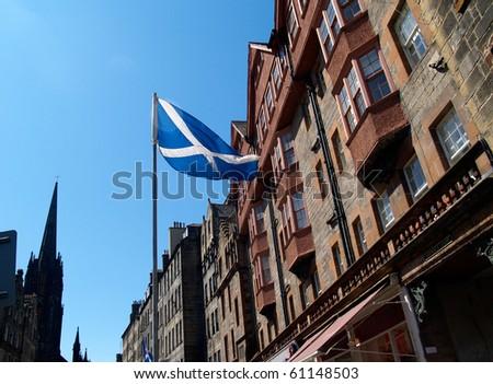 Flag of Scotland, St Andrew's Cross, in Edinburgh. - stock photo