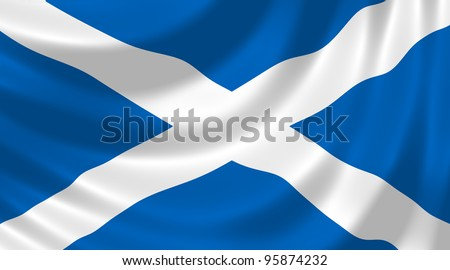 Flag of Scotland waving in the wind detail - stock photo