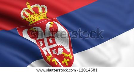 Flag Of Serbia - stock photo