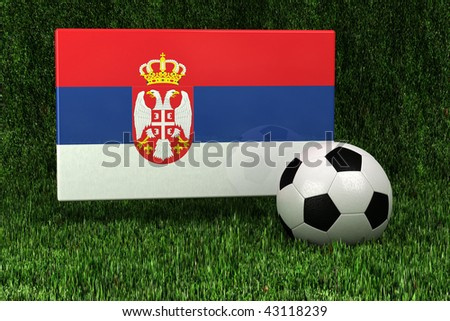 Flag of Serbia with soccer ball over grass background - very highly detailed render - stock photo