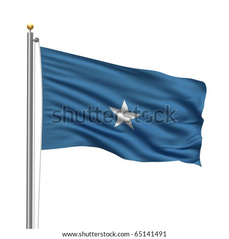 Flag of Somalia with flag pole waving in the wind over white background - stock photo