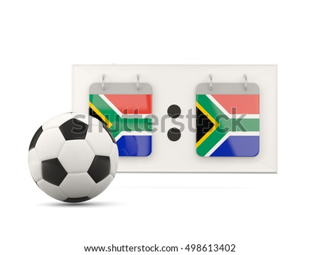 Flag of south africa, football with scoreboard and national team flag. 3D illustration