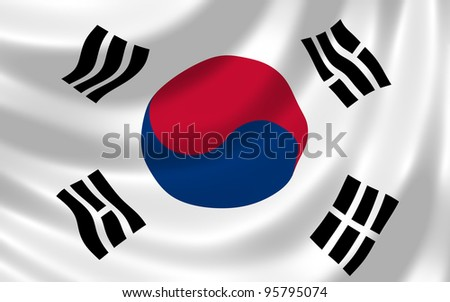Flag of South Korea waving in the wind detail - stock photo