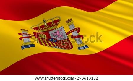 Flag of Spain. 3D illustration - stock photo