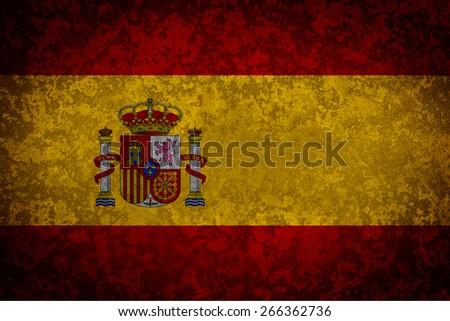 Flag of Spain. Grungy textured Spanish flag. - stock photo