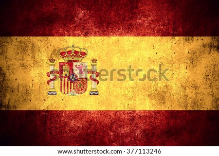 flag of Spain or Spanish banner on rough pattern texture vintage background