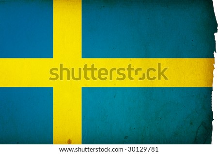 flag of sweden - old and worn paper style - stock photo