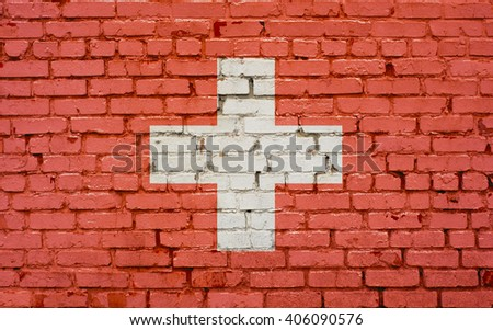 Flag of Switzerland painted on brick wall, background texture
