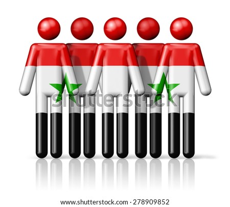 Flag of Syria on stick figure - national and social community symbol 3D icon  - stock photo