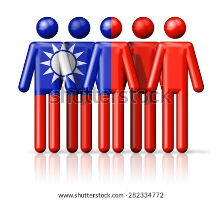 Flag of Taiwan on stick figure - national and social community symbol 3D icon - stock photo
