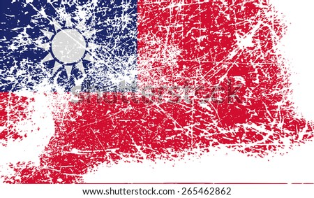 Flag of Taiwan with old texture.  illustration - stock photo