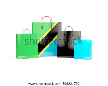 Flag of tanzania on shopping bags. 3D illustration