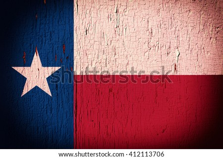 Flag of Texas State on the peeled, textured, cracked background - stock photo