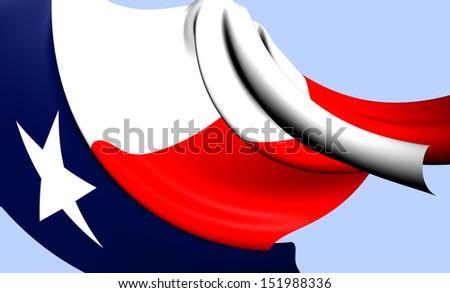 Flag of Texas, USA. Close Up.   - stock photo