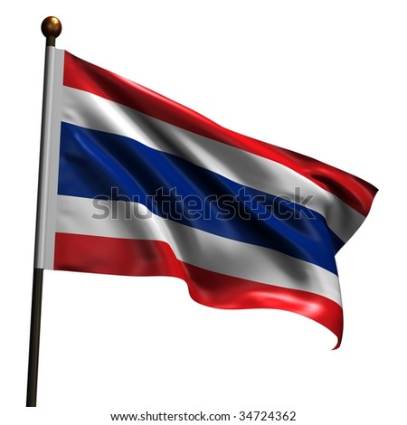 Flag of Thailand. High resolution 3d render isolated on white with fabric texture.