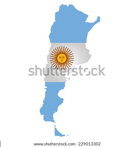 Flag of the Argentine Republic overlaid on detailed outline map isolated on white background  - stock photo