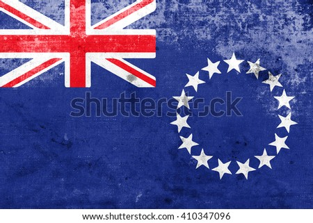 Flag of the Cook Islands, with a vintage and old look - stock photo