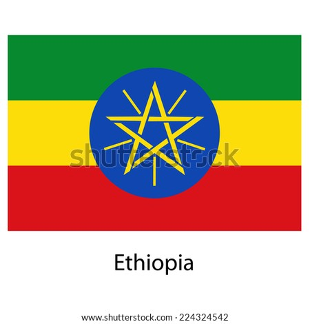 Flag  of the country ethiopia.  illustration.  Exact colors.  - stock photo