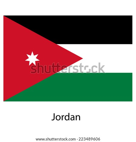 Flag  of the country  jordan.  illustration.  Exact colors.  - stock photo