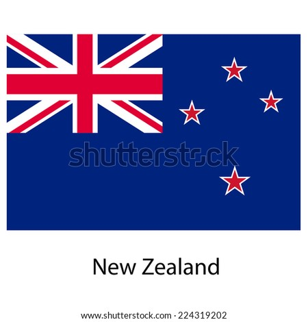 Flag  of the country  new zeland.  illustration.  Exact colors.  - stock photo