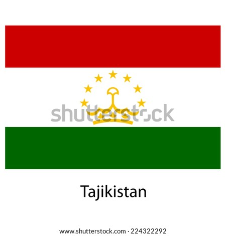 Flag  of the country  tajikistan.  illustration.  Exact colors.  - stock photo