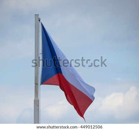 Flag of the Czech Republic floating in the air - stock photo