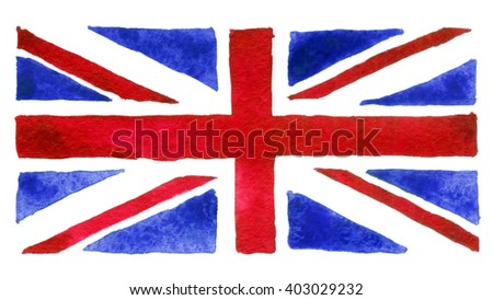 Flag of the Great Britain painted with watercolors on white background - stock photo