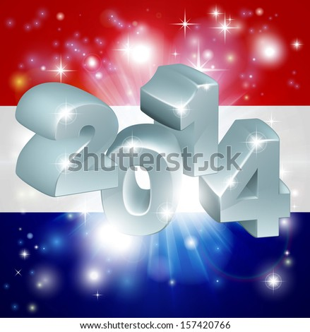 Flag of the Netherlands 2014 background. New Year or similar concept - stock photo