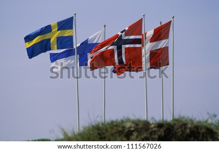 Flag of the Nordic countries in Europe - stock photo