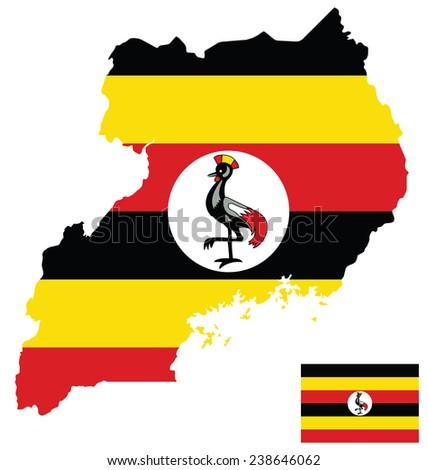Flag of the Republic of Uganda overlaid on detailed outline map isolated on white background  - stock photo