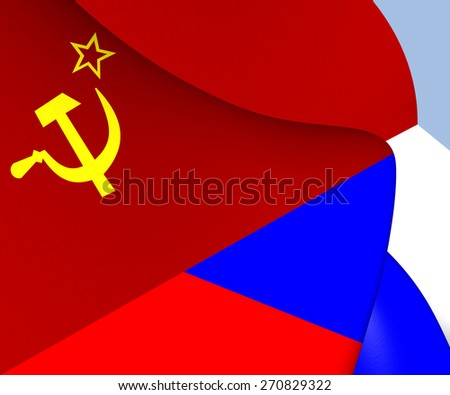 Flag of the Soviet Union and Russia. Close Up. - stock photo