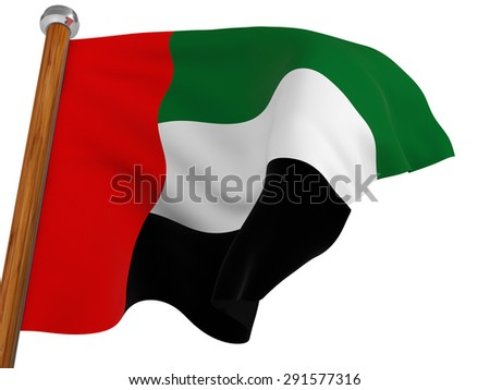 Flag of the United Arab Emirates waving  on white background