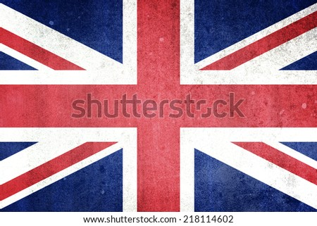 Flag of the United Kingdom. Grungy effect. - stock photo