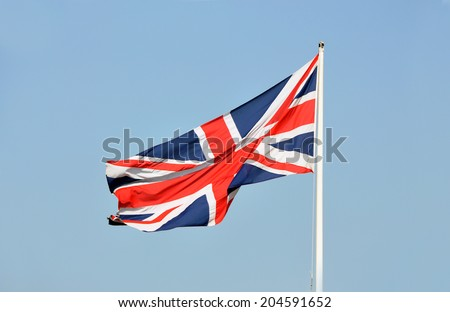 Flag of the United Kingdom. London  - stock photo