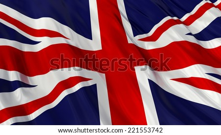 Flag of the United Kingdom of Great Britain and Northern Ireland. - stock photo