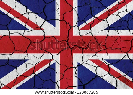 Flag of the United Kingdom over cracked background, conceptual image of crisis - stock photo
