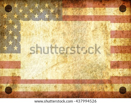 Flag of the United States as a frame, over a rusty plate with screws, aged by time-3d illustration - stock photo