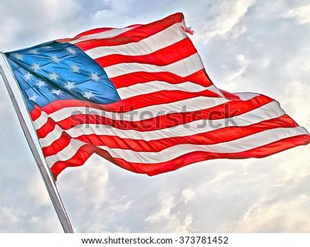Flag of the United States of America. Full color illustration