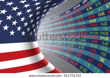 Flag of the United States of America with a large display of daily stock market price and quotations during normal economic period. The fate and mystery of US stock market, tunnel/corridor concept. - stock photo